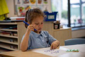 Pupil doing maths