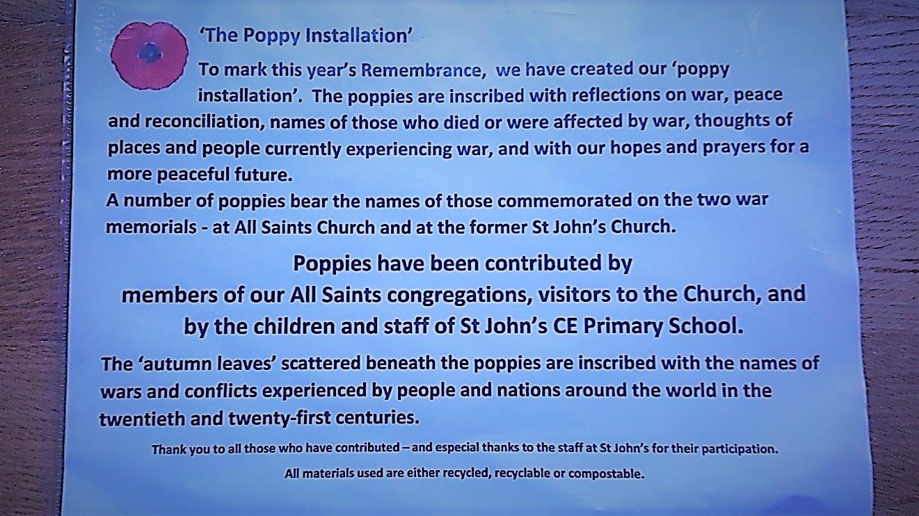 Poppy Installation At All Saints